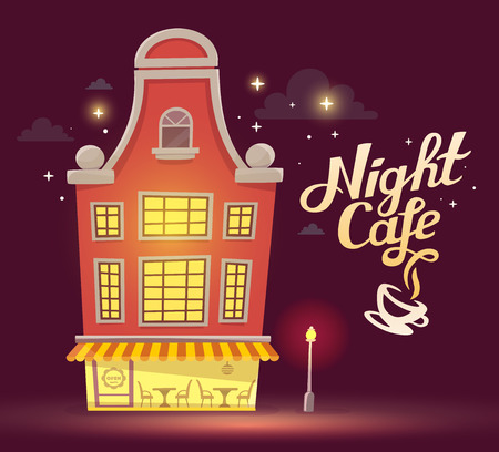 dark street: illustration of night cafe with street lamp on dark brown sky background. Art design for web, site, advertising, poster, brochure, board, card, paper print. Stock Photo