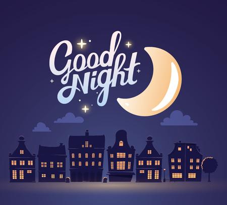 큰 달과 어두운 푸른 하늘 배경에 밤 도시 풍경의 실루엣의 그림입니다. 웹 사이트, 광고, 포스터, 브로셔, 보드, 카드, 종이 인쇄 아트 디자인. 스톡 콘텐츠