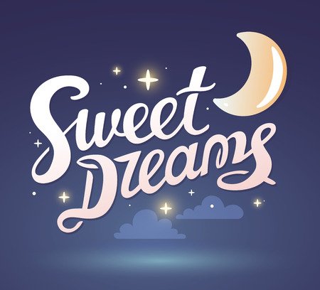 illustration of wish good night on dark blue sky background with moon. Art design for web, site, advertising,  poster,  brochure, board, card, paper print.
