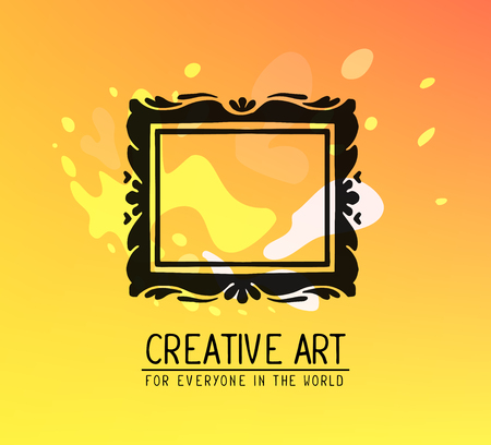 glowing carved: Vector illustration of black color rectangular frame in modern style with spots and text on yellow gradient background. Art design for web, site, advertising, banner, poster, flyer, brochure, board, card, paper print.