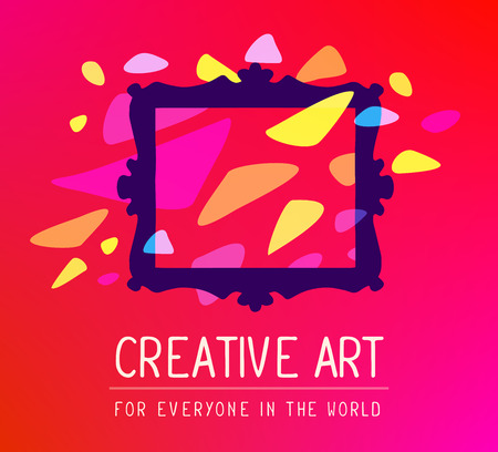 glowing carved: Vector illustration of dark purple rectangular frame in modern style with colorful spots  and white text on red gradient background. Art design for web, site, advertising, banner, poster, flyer, brochure, board, card, paper print.
