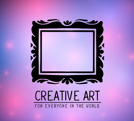 glowing carved: Vector illustration of black color rectangular frame in modern style with spots and text on light purple gradient background. Art design for web, site, advertising, banner, poster, flyer, brochure, board, card, paper print.
