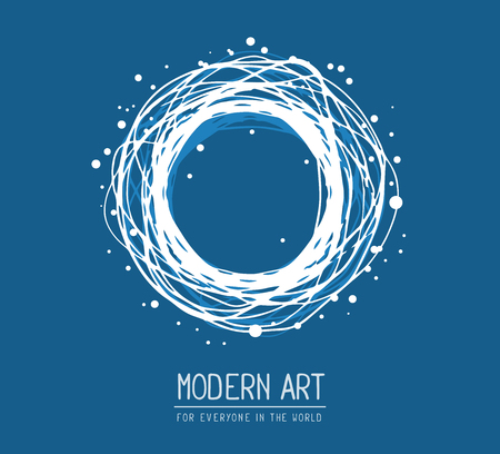 weave ball: Vector illustration of white color round frame in modern style with text on blue background. Art design for web, site, advertising, banner, poster, flyer, brochure, board, card, paper print. Stock Photo