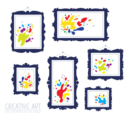 spot the difference: Vector illustration of set of dark blue rectangular frames with colorful spots isolated on white background. Art design for web, site, advertising, banner, poster, flyer, brochure, board, card, paper print.