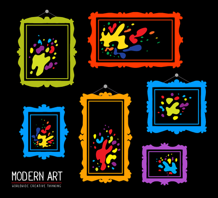 spot the difference: Vector illustration of set of color rectangular frames with colorful spots on black background. Art design for web, site, advertising, banner, poster, flyer, brochure, board, card, paper print.
