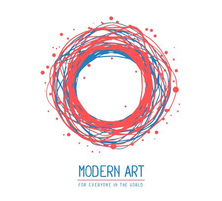 Vector illustration de rouge et bleu cadre rond dans un style moderne avec du texte isolé sur fond blanc. Art design pour le web, site, publicité, bannière, affiche, dépliant, brochure, carte, carte, papier d'impression.