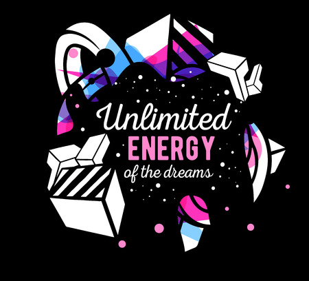 composition art: Vector illustration of colorful pink and blue abstract composition with white text on black background. Line art design for web, site, banner, poster, board, card, paper print, t-shirt.