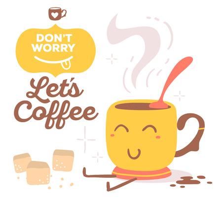 Illustration der bunten roten und gelben Lächeln Tasse Kaffee mit braunem Text auf weißem Hintergrund. Vektorgrafik