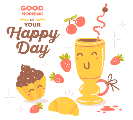 friends having fun: illustration of colorful red and yellow breakfast theme smile objects with brown text isolated on white background.