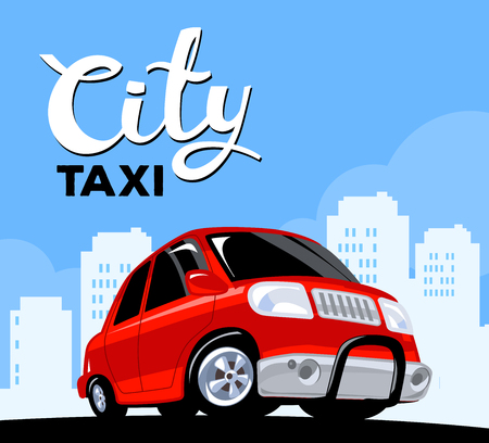 down town: Vector illustration of red taxi car on black road in big white city with header on blue background. Art design for web, site, advertising, banner, poster, flyer, brochure, board and print.