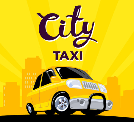 down town: Vector illustration of taxi car on black road in big city with header on yellow background. Art design for web, site, advertising, banner, poster, flyer, brochure, board and print.