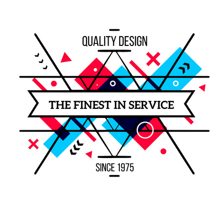 finest: Vector illustration of colorful red and blue abstract composition with frame and black text isolated on white background. Line art design for web, site, banner, poster, board, card, paper print, t-shirt. Illustration