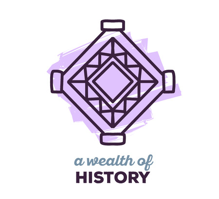 polynesian ethnicity: Vector illustration of ethnic tribal purple color amulet sigh with text on white background. Hand drawn line art design. Ethnic amulet. Tribal amulet. Vector amulet. Amulet eps. Amulet line art.