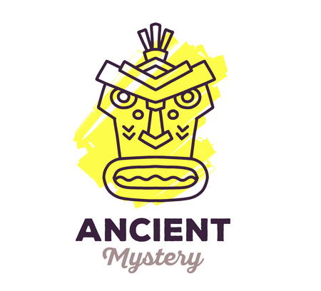 artefact: Vector illustration of ethnic tribal yellow color mask with text on white background. Hand drawn line art design. Ethnic mask. Tribal mask. Vector mask. Mask eps. Mask line art. Ancient mask.
