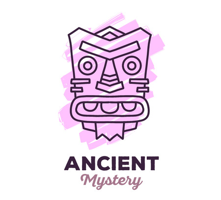 artefact: Vector illustration of ethnic tribal pink color mask with text on white background. Hand drawn line art design. Ethnic mask. Tribal mask. Vector mask. Mask eps. Mask line art.
