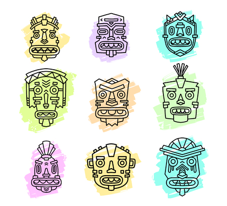 artifact: Vector illustration of set of ethnic tribal colorful masks isolated on white background. Hand drawn line art design. Ethnic mask. Tribal mask. Vector mask. Mask eps. Mask line art. Illustration
