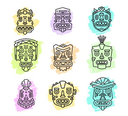 Vector illustration of set of ethnic tribal colorful masks isolated on white background. Hand drawn line art design. Ethnic mask. Tribal mask. Vector mask. Mask eps. Mask line art.