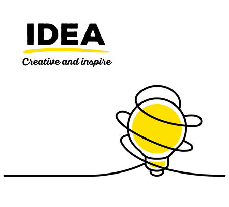 thin bulb: Vector illustration of yellow color light bulb with black wire and text on white background. Creative and inspire concept. Thin line art flat design of light bulb for inspiration and creative idea theme Illustration