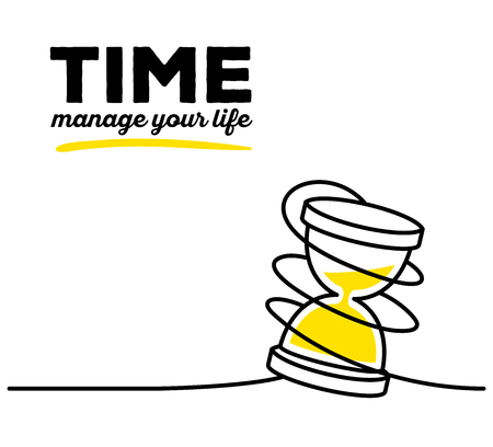 trickle down: Vector illustration of yellow color sandglass with black wire and text on white background. Manage your life concept. Thin line art flat design of hourglass for time management theme