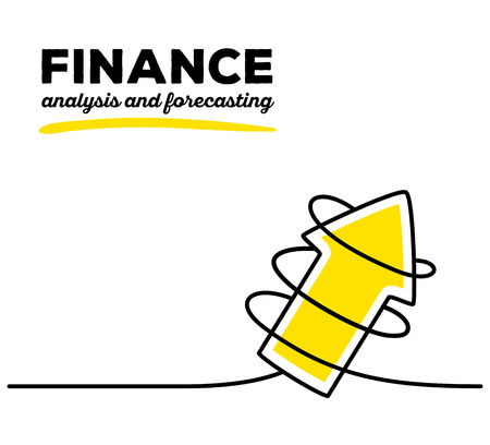 forecasting: Vector illustration of yellow color arrow going up with black wire and text on white background. Business finance concept. Thin line art flat design of arrow for analysis and forecasting theme Illustration