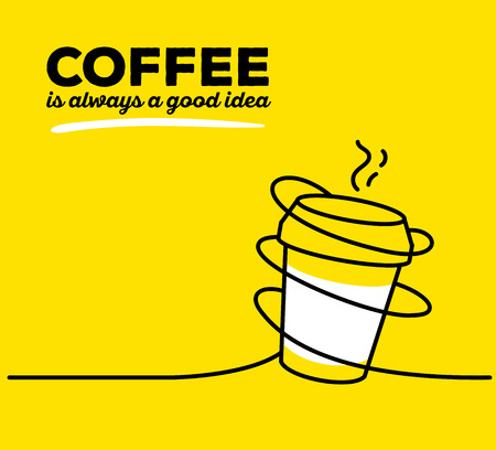 good break: Vector illustration of white color takeaway cup coffee with black wire and text on yellow background. Coffee is always a good idea concept. Thin line art flat design of coffee cup for coffee break and morning theme