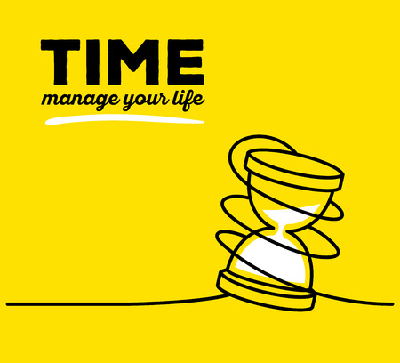 trickle down: Vector illustration of white color sandglass with black wire and text on yellow background. Manage your life concept. Thin line art flat design of hourglass for time management theme Illustration