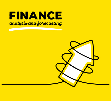 forecasting: Vector illustration of white color arrow going up with black wire and text on yellow background. Business finance concept. Thin line art flat design of arrow for analysis and forecasting theme