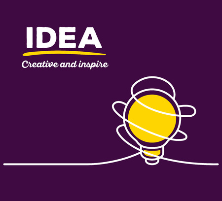 thin bulb: Vector illustration of yellow color light bulb with white wire and text on purple background. Creative and inspire concept. Thin line art flat design of light bulb for inspiration and creative idea theme