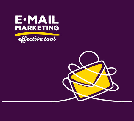Vector illustration of yellow color envelope with white wire and text on purple background. Effective tool concept. Thin line art flat design of envelope for e-mail marketing theme