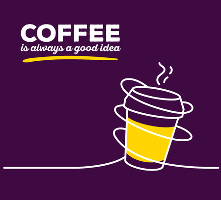 good break: Vector illustration of yellow color takeaway cup coffee with white wire and text on purple background. Coffee is always a good idea concept. Thin line art flat design of coffee cup for coffee break and morning theme