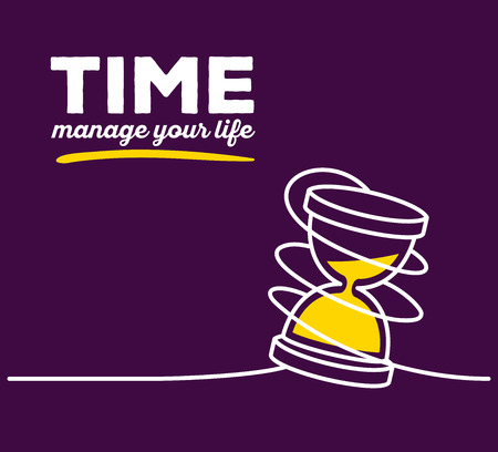 trickle down: Vector illustration of yellow color sandglass with white wire and text on purple background. Manage your life concept. Thin line art flat design of hourglass for time management theme