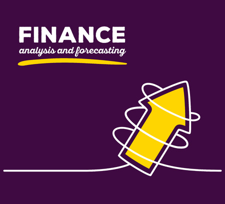 forecasting: Vector illustration of yellow color arrow going up with white wire and text on purple background. Business finance concept. Thin line art flat design of arrow for analysis and forecasting theme