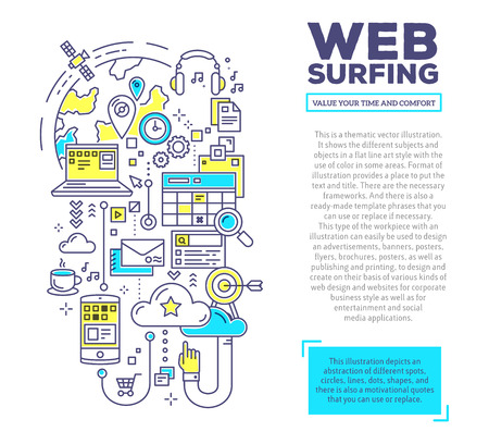 web surfing: Vector creative concept illustration of web surfing with header and text on white background. Web surfing composition template. Hand draw flat thin line art style monochrome design blue and yellow colors for web surfing theme Illustration
