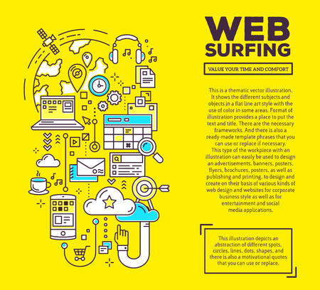 web surfing: Vector creative concept illustration of web surfing with header and text on yellow background. Web surfing composition template. Hand draw flat thin line art style monochrome design for web surfing theme Illustration