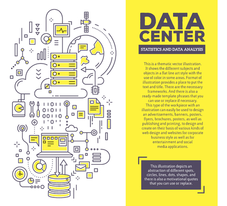 Vector creative concept illustration of data center with header and text. Server technology composition template background. Hand draw flat thin line art style monochrome design for server technology theme