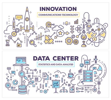 데이터 센터 혁신 기술의 벡터 크리 에이 티브 개념 그림입니다. 가로 조성 템플릿입니다. 손 서버 및 혁신 기술 테마 평면 얇은 라인 아트 스타일의 단