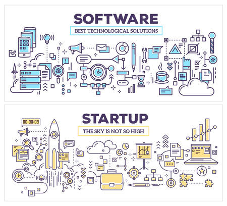 Vector creative concept illustration of software and technology startup. Horizontal composition template. Hand draw flat thin line art style monochrome design for application development and startup technology theme