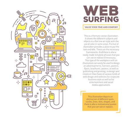 web surfing: Vector creative concept illustration of web surfing with header and text. Web surfing composition template background. Hand draw flat thin line art style monochrome design for web surfing theme