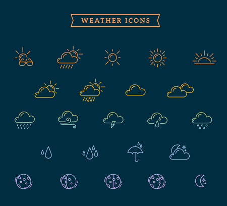Vector illustration of rainbow gradient weather theme icon set on dark blue background with ribbon and text. Thin line art flat weather design for web, site, widget, interface and mobile application