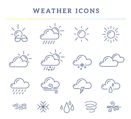 widget: Vector illustration of blue weather theme icon set on white background with title. Thin line art flat weather design for web, site, widget, interface and mobile application