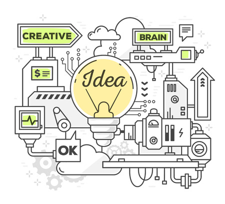 Ilustración del vector del mecanismo profesional creativo para encontrar ideas sobre fondo blanco. Trace la línea de diseño blanco y negro del estilo del arte con los colores verde y amarillo para web, sitio web, la publicidad, la bandera de impresión de carteles