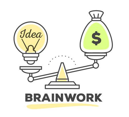 Vector illustration du mécanisme pour comparer la valeur de l'argent et de l'idée sur des échelles sur fond blanc avec du texte. Dessiner une ligne design monochrome de style d'art avec des couleurs vertes et jaunes pour le web, le site, la publicité, bannière, affiche, impression.
