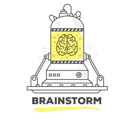 brainstorm: Vector illustration of creative professional mechanism of brainstorm with text on white background. Draw flat thin line art style monochrome design with yellow color. Modern concept to start a brainstorm