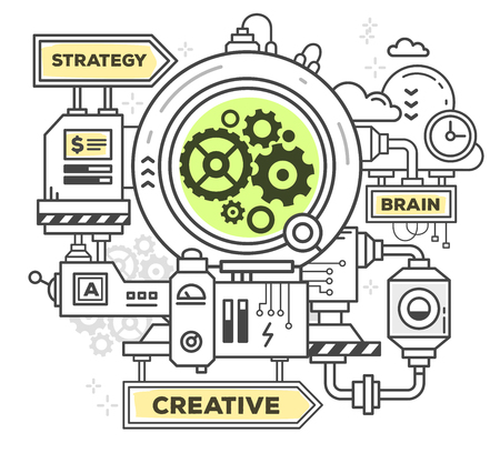 Vector illustration of creative professional mechanism to make anything on white background. Draw flat thin line art style monochrome design with green and yellow colors. Modern concept to work of a business Illustration