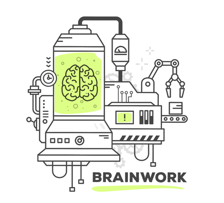 conveyor system: Vector illustration of creative professional mechanism of brainwork on white background. Draw line art style monochrome design with green color for web, site, advertising, banner, poster, print Illustration