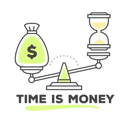 Vector illustration du mécanisme pour comparer la valeur de l'argent et du temps sur des échelles sur fond blanc. Dessinez plat mince art en ligne design monochrome de style avec des couleurs vertes et jaunes pour le web, le site, la publicité, bannière, affiche, impression.