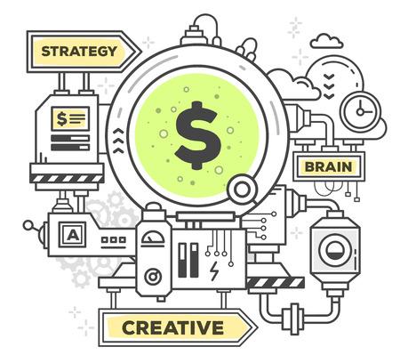 Vector illustratie van de creatieve professional mechanisme om geld te verdienen op een witte achtergrond. Trek platte dunne lijn art stijl zwart-wit ontwerp met groene en gele kleuren. Moderne concept om geld te verdienen in het bedrijfsleven