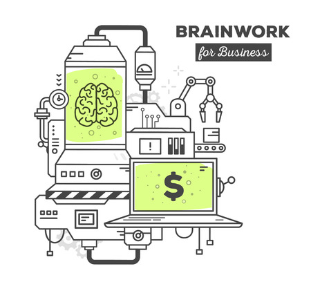 conveyor system: Vector illustration of creative professional mechanism of brainwork with text on white background. Draw flat thin line art style monochrome design with green color. Modern concept to earn on a brain work