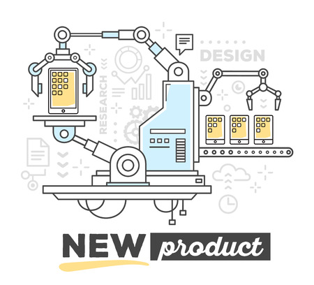 produce: Vector illustration of creative professional mechanism to produce a new tablet with conveyor with text on white background. Draw flat thin line art style monochrome design with blue and yellow colors for web, site, advertising, banner, poster, print