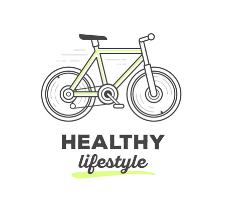 active life: Vector illustration of creative sport bicycle with text on white background. Healthy life style concept. Hand draw flat thin black line art style monochrome design of bicycle with green color for active sport web, site, advertising, banner, poster, print